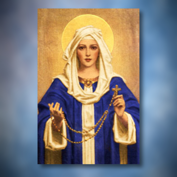 Mary offering a Rosary