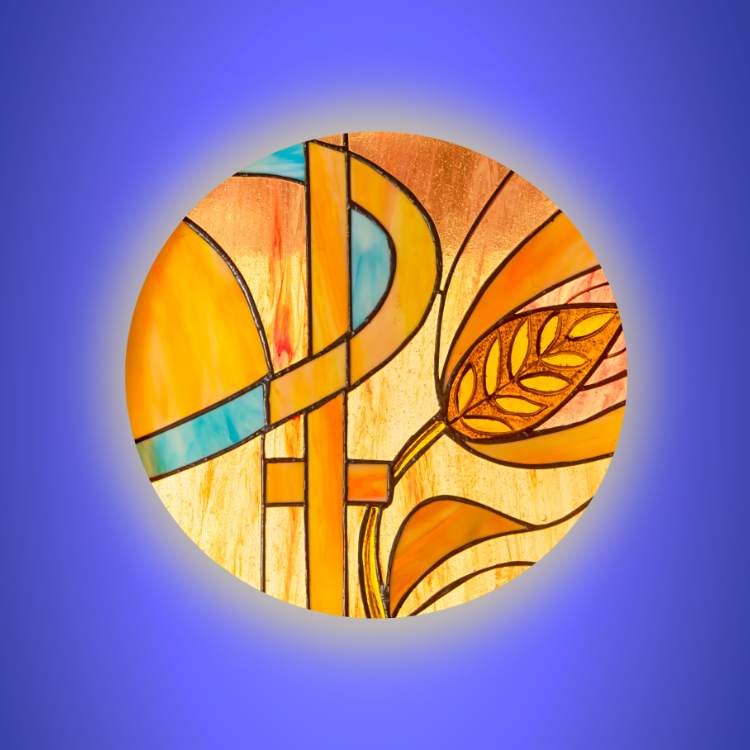 XP symbol in stained glass on a blue background